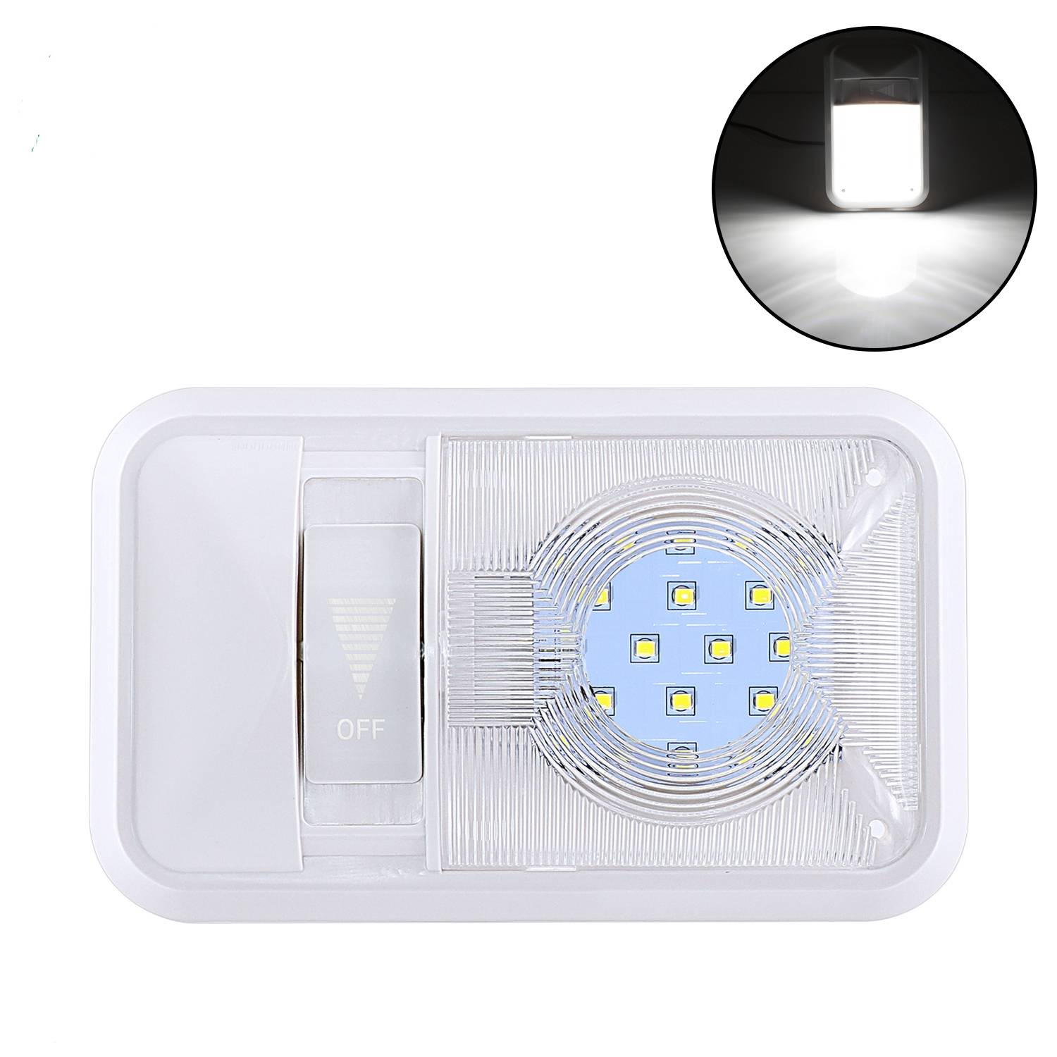 12V Led RV Dimming Ceiling Dome Light Dimming RV Interior Lighting for Trailer Camper with Dimming Switch