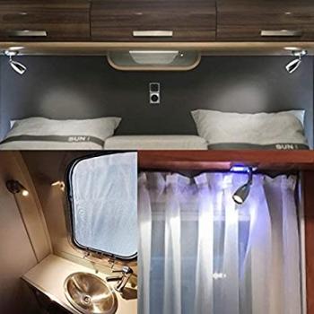 12V/24V On Off Dimming USB RV Reading Lamp Boat Interior Lighting Camper Trailer Motorhom LED Bedside Lamp
